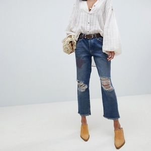 Free People cropped ripped knee jeans